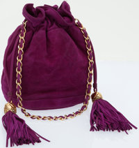 Chanel Fuchsia Suede Quilted Drawstring Bucket Bag with Gold Hardware
