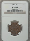 Two Cent Pieces: , 1872 2C VF25 NGC. NGC Census: (12/191). PCGS Population (13/205).Mintage: 64,000. Numismedia Wsl. Price for problem free N...