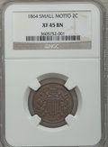 Two Cent Pieces: , 1864 2C Small Motto XF45 NGC. NGC Census: (7/258). PCGS Population(24/209). Mintage: 19,847,500. Numismedia Wsl. Price for...