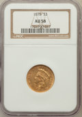 Three Dollar Gold Pieces, 1878 $3 AU58 NGC....