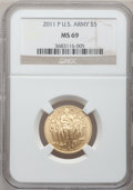 Modern Issues, 2011-P $5 U.S. Army Five Dollar MS69 NGC. PCGS Population(123/139). (#506170)...