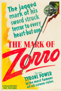 "Movie Posters:Swashbuckler, The Mark of Zorro (20th Century Fox, 1940). One Sheet (27"" X 41"") Style B.. ..."