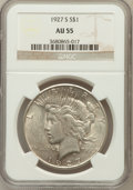 Peace Dollars: , 1927-S $1 AU55 NGC. NGC Census: (117/2990). PCGS Population(144/4404). Mintage: 866,000. Numismedia Wsl. Price for problem...