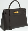 Luxury Accessories:Bags, Hermes 32cm Dark Brown Calf Box Leather Sellier Kelly Bag with GoldHardware. ...