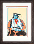 American Indian Art:Photographs, INDIAN WITH FEATHER FAN (First State). Fritz Scholder(Luiseno, 1937 - 2005). 1975...