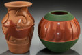 American Indian Art:Pottery, TWO SOUTHWEST CARVED JARS. Linda Cain and Dora Tse-Pe ... (Total: 2Items)