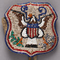 American Indian Art:Beadwork and Quillwork, A SMALL PLATEAU BEADED HIDE BELT POUCH ...