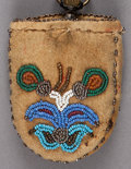 American Indian Art:Beadwork and Quillwork, A PLATEAU BEADED HIDE WATCH CASE...