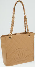 Luxury Accessories:Bags, Chanel Beige Quilted Caviar Leather Petite Shopping Tote Bag. ...