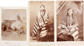 American Indian Art:Photographs, SIOUX INDIAN SUBJECTS, THREE CARTE-DE-VISITE PHOTOS BY GODKIN -TRAVELING PHOTOGRAPHER, A. HESLER, EVANSTON, ILLINOIS, AND ONE...(Total: 3 Items)