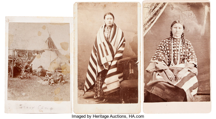 American Indian ArtPhotographs SIOUX INDIAN SUBJECTS THREE CARTE DE VISITE