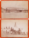 American Indian Art:Photographs, ARAPAHO CAMP SCENES, LOT OF TWO CABINET CARDS BY BAKER ANDJOHNSTON, EVANSTON, WYOMING... (Total: 2 Items)
