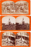 American Indian Art:Photographs, CHIPPEWA SUBJECTS, LOT OF THREE STEREOVIEWS, ONE BY N.J. TRENHAM,ALEXANDRIA, MINNESOTA, AND TWO BY CHILD'S ART GALLERY, MARQU...(Total: 3 Items)