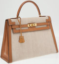 Luxury Accessories:Bags, Hermes 32cm Toile and Veau Box Natural Sellier Kelly Bag with Gold Hardware. ...
