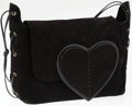 Luxury Accessories:Bags, Gucci Black Suede Shoulder Bag with Heart Flap. ...