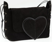 Gucci Black Suede Shoulder Bag with Heart Flap
