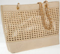 Luxury Accessories:Bags, Chanel Wicker and Leather Large Tote Bag with Gold Hardware. ...