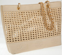 Chanel Wicker and Leather Large Tote Bag with Gold Hardware