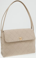 Luxury Accessories:Accessories, Chanel Beige Fabric Quilted Shoulder Bag with Gold Hardware. ...