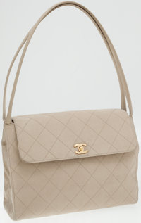 Chanel Beige Fabric Quilted Shoulder Bag with Gold Hardware