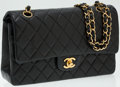 Luxury Accessories:Accessories, Chanel Black Lambskin Leather Classic Double Flap Bag with Gold Hardware. ...