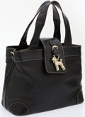 Luxury Accessories:Bags, Kieselstein Cord Black Leather Top Handle Bag with Gold Poodle. ...