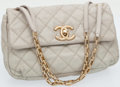 Luxury Accessories:Bags, Chanel Pearl Grey Distressed Leather Single Flap Bag with AntiqueGold Hardware . ...