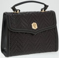 Luxury Accessories:Bags, Kieselstein Cord Black Woven Leather Top Handle Bag with GoldAlligator. ...