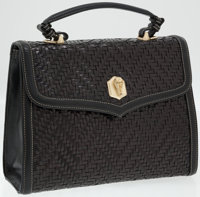 Kieselstein Cord Black Woven Leather Top Handle Bag with Gold Alligator