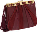 Luxury Accessories:Bags, Judith Leiber Burgundy Lizard, Leather, and Suede Clutch with GoldFrame and Cabochon Closure. ...