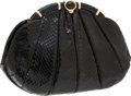 Luxury Accessories:Bags, Judith Leiber Black Snakeskin Clutch with Black and Gold Closure....