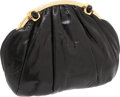 Luxury Accessories:Bags, Judith Leiber Black Lizard Large Clutch with Gold Deco Frame andBlack Closure. ...