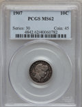 Barber Dimes: , 1907 10C MS62 PCGS. PCGS Population (72/277). NGC Census: (42/269).Mintage: 22,220,576. Numismedia Wsl. Price for problem ...