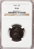 Proof Seated Quarters: , 1863 25C PR62 NGC. NGC Census: (12/93). PCGS Population (31/117).Mintage: 460. Numismedia Wsl. Price for problem free NGC/...