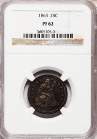1863 25C PR62 NGC. NGC Census: (12/93). PCGS Population (31/117). Mintage: 460. Numismedia Wsl. Price for problem free N...