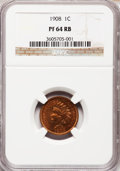 Proof Indian Cents: , 1908 1C PR64 Red and Brown NGC. NGC Census: (51/83). PCGSPopulation (111/64). Mintage: 1,620. Numismedia Wsl. Price forpr...