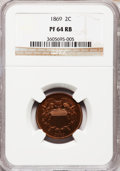 Proof Two Cent Pieces: , 1869 2C PR64 Red and Brown NGC. NGC Census: (45/79). PCGSPopulation (90/70). Mintage: 600. Numismedia Wsl. Price forprobl...