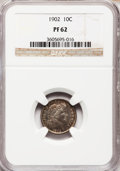 Proof Barber Dimes: , 1902 10C PR62 NGC. NGC Census: (13/168). PCGS Population (29/175).Mintage: 777. Numismedia Wsl. Price for problem free NGC...