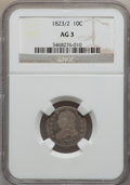 Bust Dimes: , 1823/2 10C Small Es AG3 NGC. NGC Census: (0/96). PCGS Population(1/78). Mintage: 440,000. Numismedia Wsl. Price for proble...