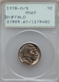 Buffalo Nickels: , 1938-D/S 5C MS65 PCGS. PCGS Population (1672/1674). NGC Census:(704/910). Mintage: 7,020,000. Numismedia Wsl. Price for pr...