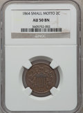 Two Cent Pieces: , 1864 2C Small Motto AU50 NGC. NGC Census: (4/254). PCGS Population(21/188). Mintage: 19,847,500. Numismedia Wsl. Price for...