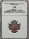 Proof Indian Cents: , 1886 1C Type Two PR64 Brown NGC. PCGS Population (22/23).Numismedia Wsl. Price for problem free NGC/PC...