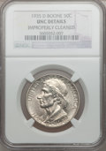 Commemorative Silver: , 1935-D 50C Boone -- Improperly Cleaned -- NGC Details. UNC. NGCCensus: (0/618). PCGS Population (0/993). Mintage: 5,005. N...