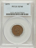 Indian Cents: , 1875 1C XF40 PCGS. PCGS Population (41/268). NGC Census: (18/518).Mintage: 13,528,000. Numismedia Wsl. Price for problem f...