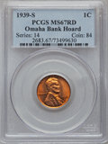 Lincoln Cents: , 1939-S 1C MS67 Red PCGS. EX:Omaha Bank Hoard. PCGS Population(296/0). NGC Census: (1742/0). Mintage: 52,070,000. Numismedi...