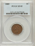 Indian Cents: , 1885 1C XF45 PCGS. PCGS Population (21/201). NGC Census: (22/588).Mintage: 11,765,384. Numismedia Wsl. Price for problem f...
