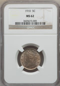 Liberty Nickels, 1910 5C MS62 NGC. Include: W/p. NGC Census: (82/416). PCGSPopulation (89/489). Mintage: 30,169,352. Numismedia Wsl. Price ...