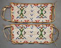 American Indian Art:Beadwork and Quillwork, A PAIR OF SIOUX BEADED HIDE ARM BANDS . c. 1900 ...
