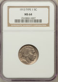 Buffalo Nickels: , 1913 5C Type One MS64 NGC. NGC Census: (1996/3795). PCGS Population(3489/5313). Mintage: 30,993,520. Numismedia Wsl. Price...
