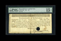 "Colonial Notes:Massachusetts, Massachusetts 1781 $16 PMG Fine 15. A paid endorsement is found onthe back of this elusive note that has a ""hole cancelled,..."